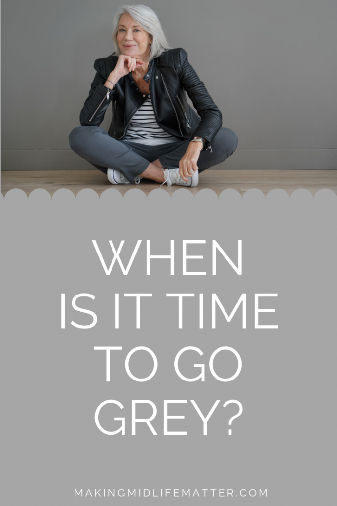 There comes a time when coloring your hair isn't about wanting a change as much as covering the ever growing, grey hair roots. It seems to get harder and harder to keep up with the maintenance. The question becomes, when do you stop colouring and let nature do its thing? Are you ready to transition to grey hair? #greyhair #grayhair #transitiontogreyhair