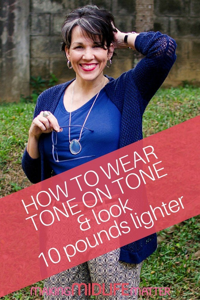 Tone on tone clothing is a popular choice because a singular color palette helps to elongate the body and draws the eye up and down. Here are some tips to add pizazz to your tone on tone outfits. This technique will make you look 10 pounds lighter!