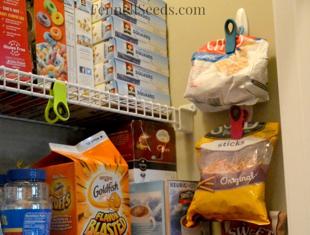 This pantry has a place for every cereal box and chip bag.