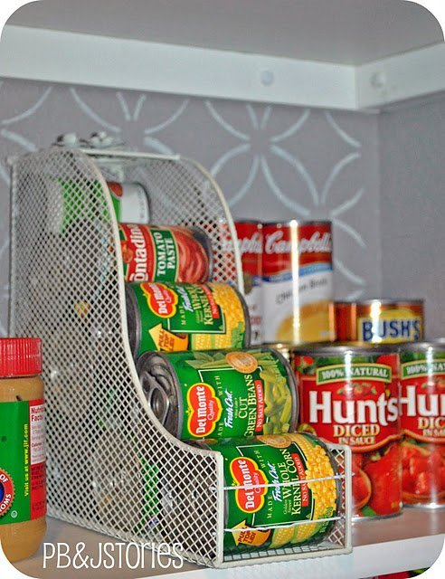 This magazine holder is perfect for organizing cans of vegetables.
