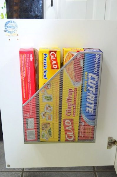 This magazine holder is great for storing plastic wrap.