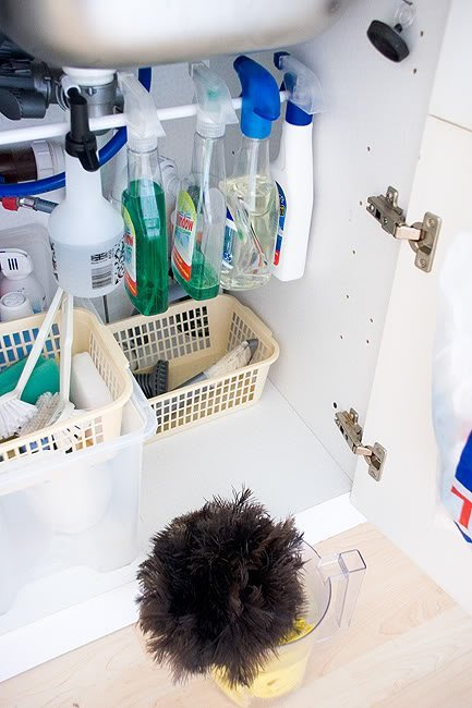 These cleaning supplies are organized and decluttered.