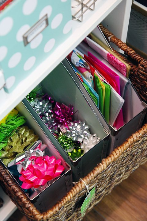 These magazine organizers are great for storing wrapping supplies like bows and tissue paper.