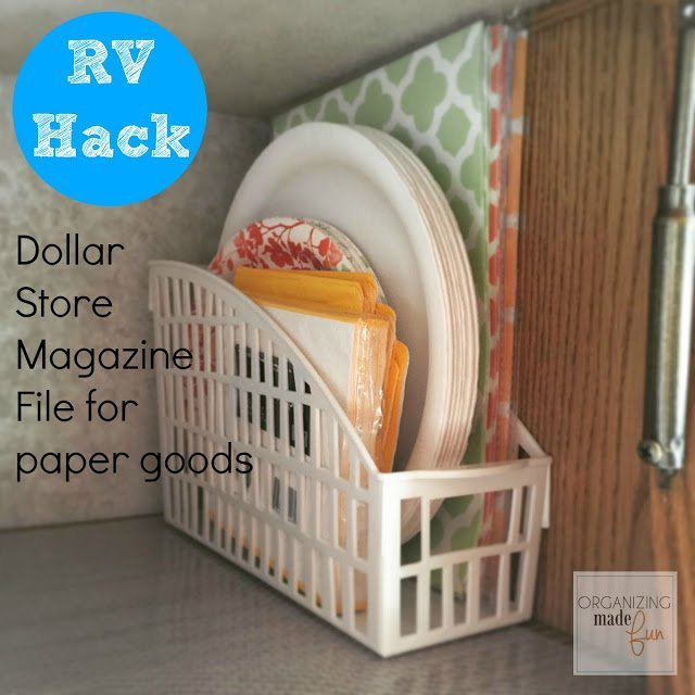 This Dollar Store magazine file is great for storing paper goods.