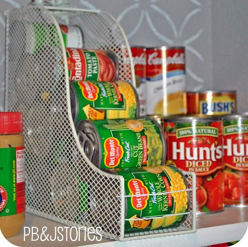 These organized cans of vegetables and soup keep the pantry in order.