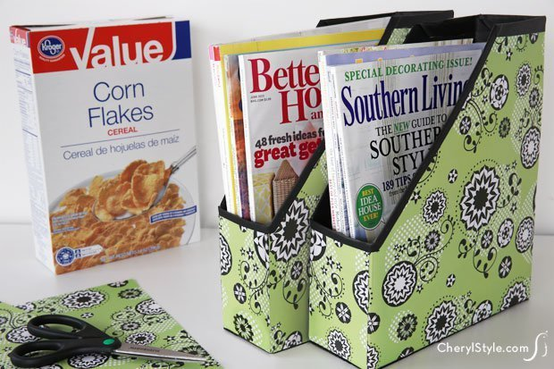 These cereal boxes decorated with wrapping paper are great magazine holders.