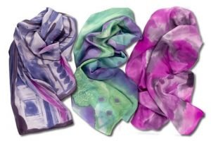 These adorable scarves are colorful and bright.