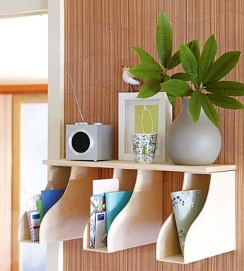 These wood magazine holders are great wall accents to keep mail and books.