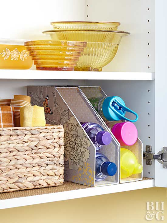 These decorative file holders make great water bottle organizers.