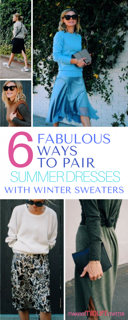 Pairing your summer dresses with winter sweaters is a great way to make better use of the clothes you already own. Check out these 6 winter fashions. #fashion #style #fall #winter #fashioninspiration