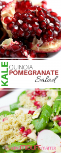 Don't sacrifice taste for #healthyeating. Check out this Kale Quinoa Pomegranate #Salad #recipe that even the kids will love.