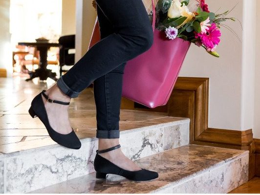These black flats with an ankle strap are classic.