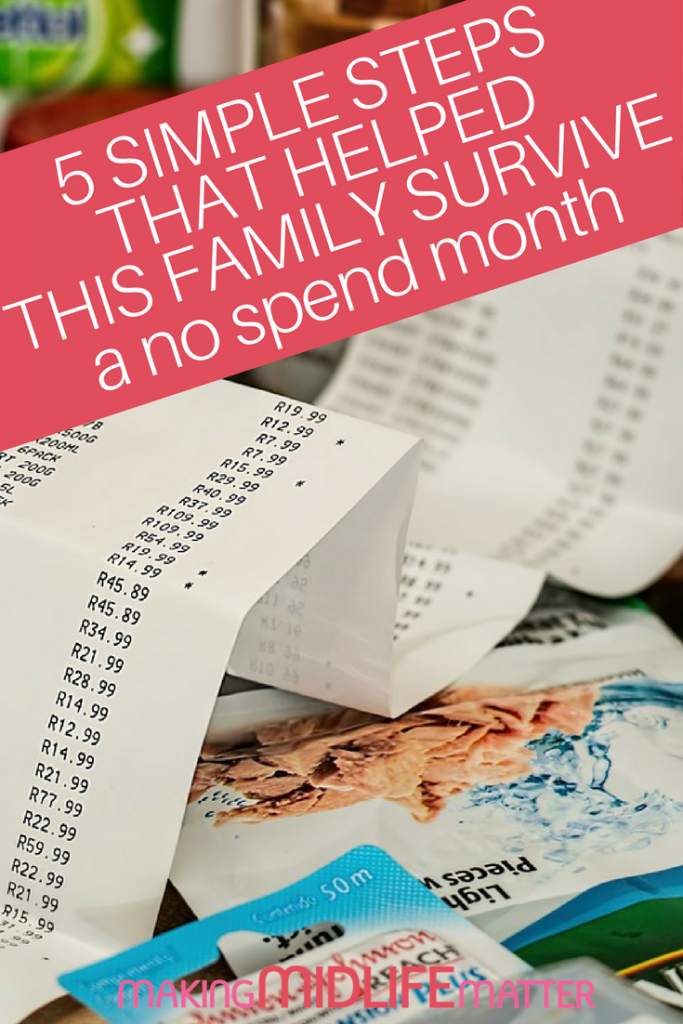 Nothing can teach you the skills of budgeting, rationing and delayed gratification faster than a no spend month. Check out the 5 steps this family used to survive and thrive their no spend month. #budget #moneysaving #nospendchallenge