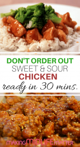 Save money. Eat at home. Try this quick & easy recipe for Sweet & Sour Chicken that tastes just like your favourite Chinese takeout. #savemoney #frugal #recipe #chicken