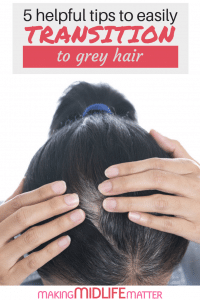 Have you made the decision to stop colouring your hair? Here are some tips that will help you transition to grey hair easier and make your hair feel and look healthy! #greyhair #transitiontogrey #beautytips #haircare