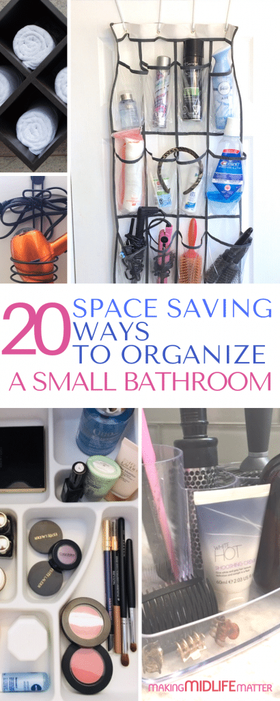 Having a small bathroom doesn't mean you have to compromise storage. Check out these hacks for ways to use every square inch of space. Great space saving ways to organize a small bathroom for maximum storage. #bathroom #bathroomorganization #smallbathroom #diyorganization