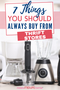 People are recycling and donating their slightly used possessions more than ever before and you can reap the benefits of someone else paying full price for something they no longer want or need. click through for a list of 7 things you should always buy at a thrift store. #savemoney #thriftstore