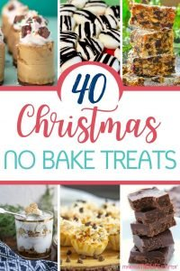 40 Easy Christmas No Bake Treats! Including simple Christmas cookies, bars, candies and Christmas desserts -- because sometimes you just don't have time to bake! Easy recipes for everyone. #christmas #nobake #dessert #baking #recipe