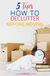 Decluttering is a must before moving house. Remove the overwhelm with these simple tips on how to declutter before moving. These tips will make your move easier and a whole lot less stressful! #decluttering #movingtips #packingtips #moving #packing #declutteringtips