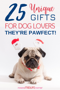 25 Unique and thoughtful gifts for dog lovers any dog mom or dad would love to receive. Decor, wine glasses, books, clothing, accessories and more! You'll find my gift giving list the solution to all your Christmas gift shopping needs. #christmas #gifts #christmasgiftsideas #giftideas #dogs #giftguides #DogLovers #doglover #dogowner #ilovedogs #dogs #dogmom