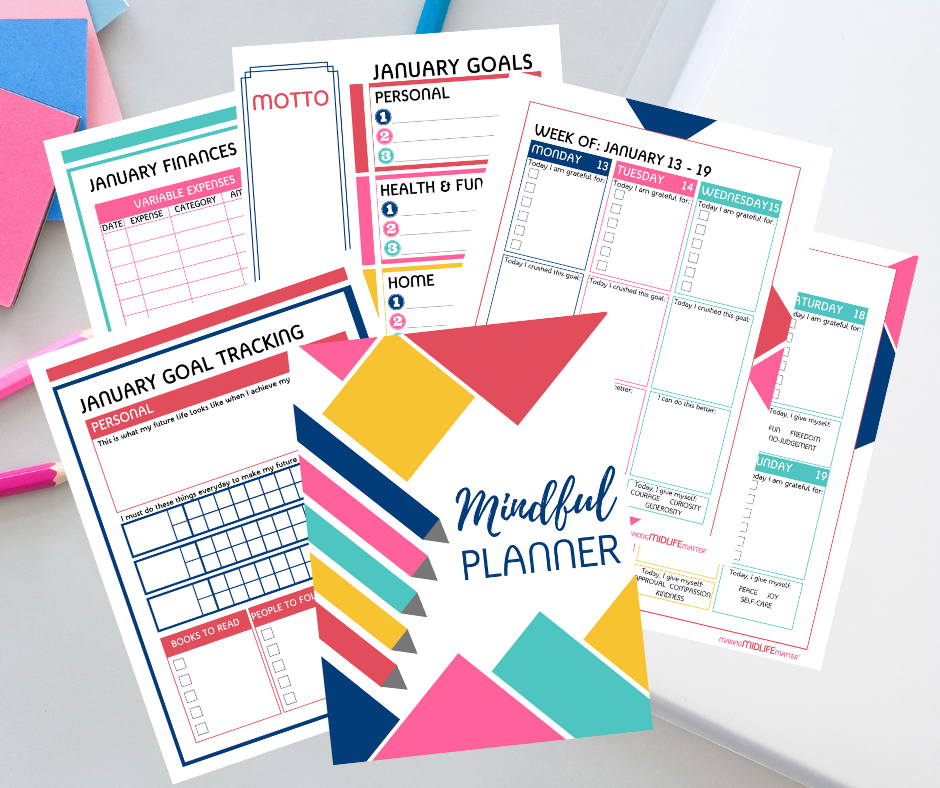 Want to make 2021 you best year ever? The Complete Mindful Planner has over 200 pages of monthly and weekly goal planners and trackers. Plus reminders to have gratitude and grace while pursuing your dream life. Click through to see more.