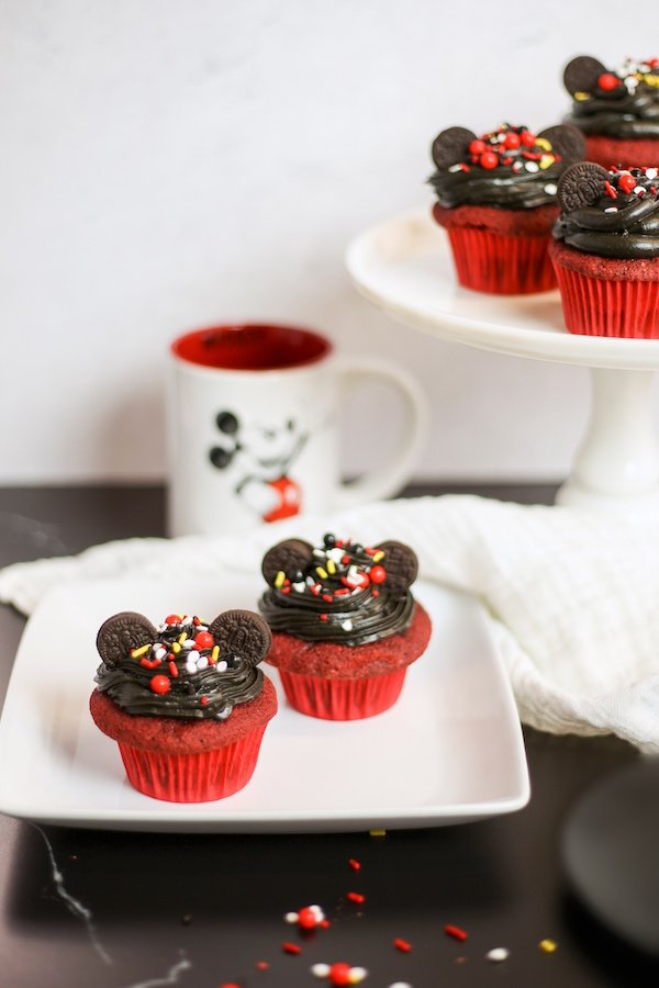 If you are a Disney fan, you are going to love these simple Mickey Mouse Red Velvet Cupcakes. Great for birthdays and bake sales, you are sure to put a smile on everyone's face!