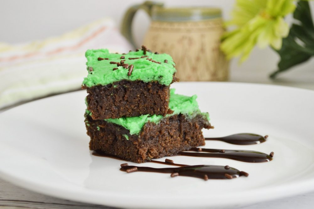 Whip up a batch of these St. Patrick's Day Brownies to serve up for your entertaining needs. A homemade fudge brownie that is frosted with green frosting.